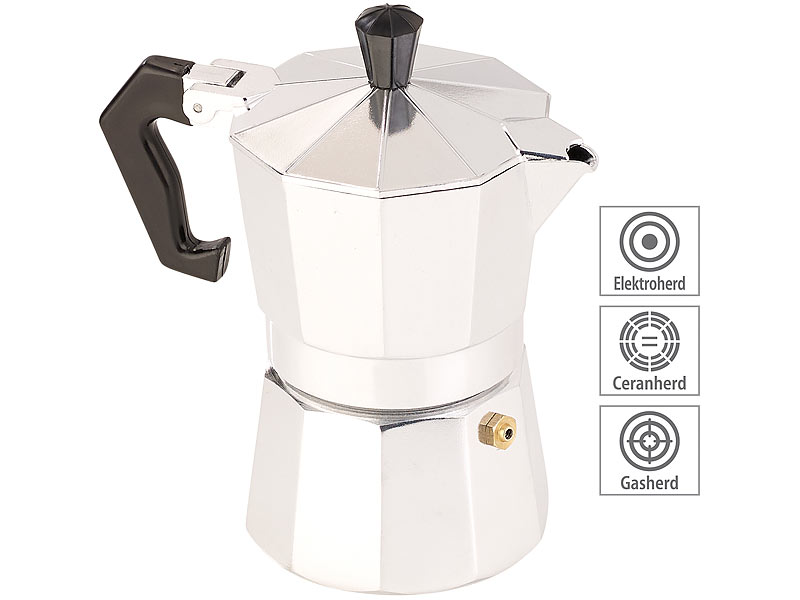 Gas Espressokanne: Edelstahl-Espressokocher für 6 Tassen Ceran für Induktion