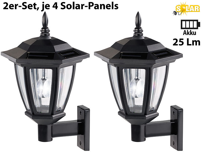 luminea solar wandleuchte solar led au en wand leuchten wei es licht 25 lumen 2er set led. Black Bedroom Furniture Sets. Home Design Ideas