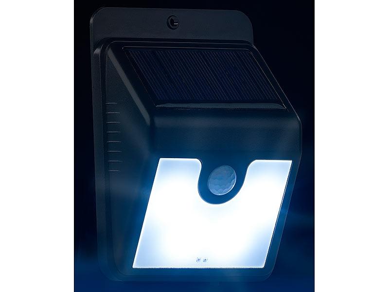 luminea led leuchte 3er set solar led wandleuchten mit bewegungssensor nachtlicht 50 lm. Black Bedroom Furniture Sets. Home Design Ideas