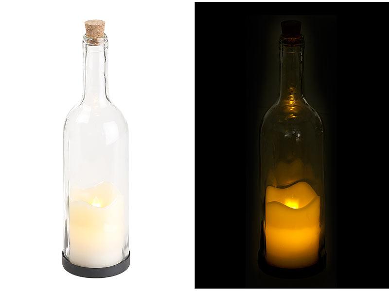 Lunartec Flaschenlicht Mit Timer Deko Glasflasche Mit Led Kerze Und