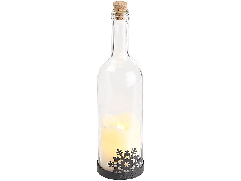 lunartec deko flasche deko glasflasche mit led kerze bewegliche flamme schneeflocken motiv. Black Bedroom Furniture Sets. Home Design Ideas