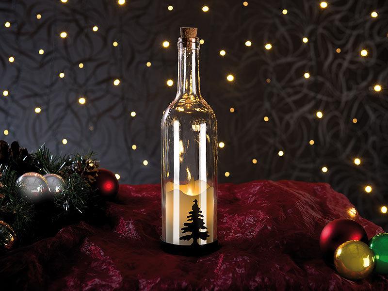 lunartec deko flasche deko glasflasche mit led kerze bewegliche flamme timer tannen motiv. Black Bedroom Furniture Sets. Home Design Ideas