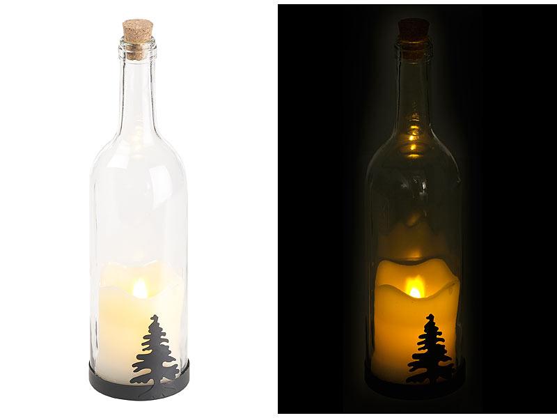 lunartec deko leuchte deko glasflasche mit led kerze. Black Bedroom Furniture Sets. Home Design Ideas