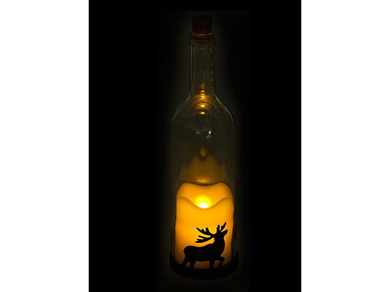 lunartec bottlelights 3er set deko glasflasche led kerze beweglicher flamme elch motiv. Black Bedroom Furniture Sets. Home Design Ideas