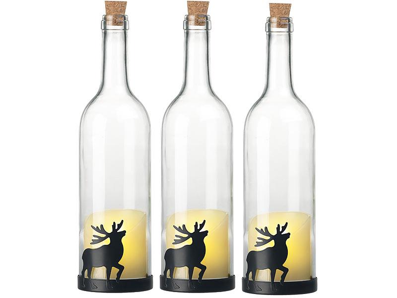 Lunartec Flaschenleuchte 3er Set Deko Glasflasche Led Kerze