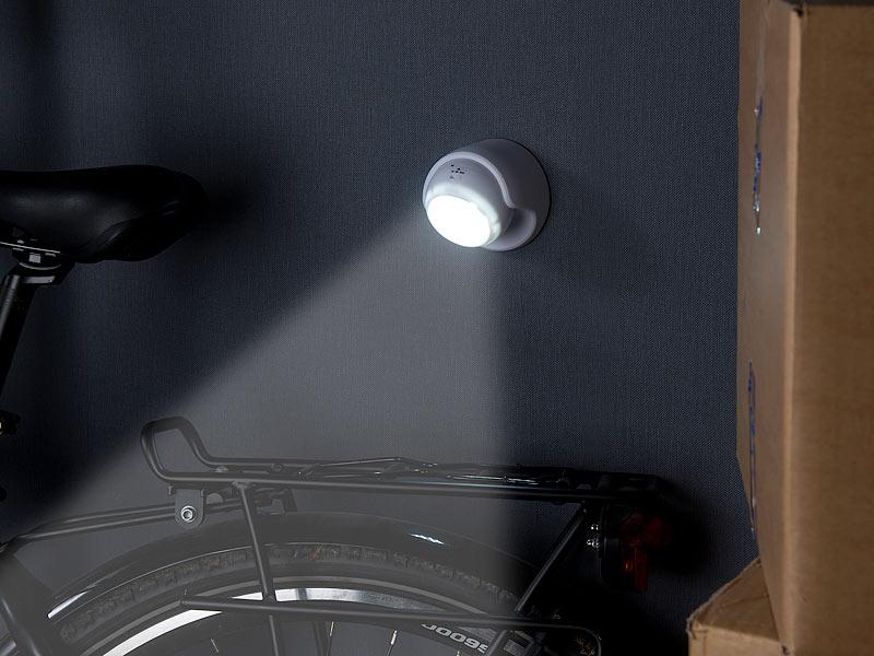 luminea led lampe batterie kabelloser led strahler bewegungssensor 360 drehbar 100 lm wei. Black Bedroom Furniture Sets. Home Design Ideas