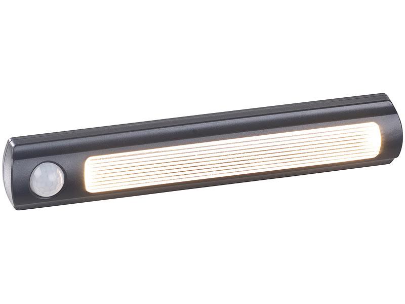 luminea lichtleiste 4er set batterie led schrankleuchten pir lichtsensor 0 6w 3000 k. Black Bedroom Furniture Sets. Home Design Ideas