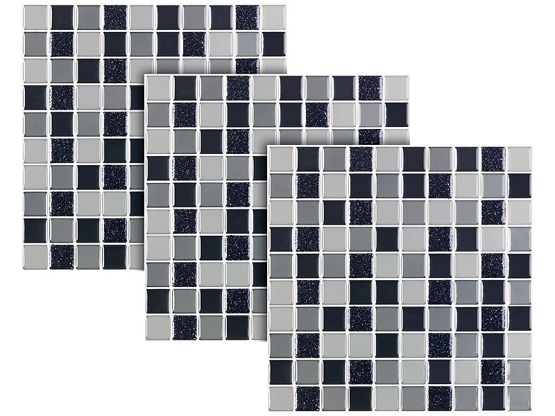infactory aufkleber selbstklebende 3d mosaik glitzer fliesenaufkleber 26 x 26cm 15er set. Black Bedroom Furniture Sets. Home Design Ideas