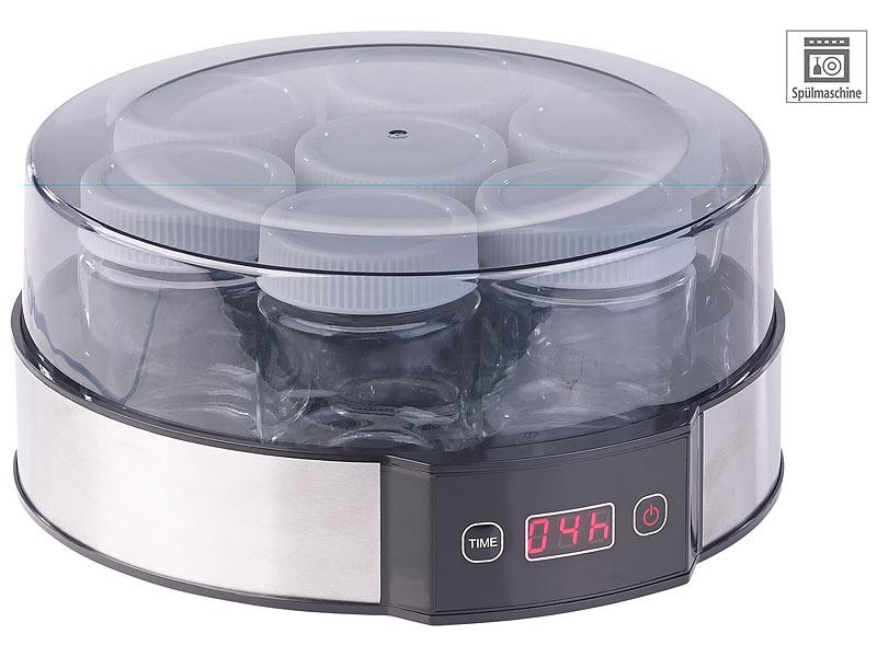 rosenstein s hne joghurt maschine joghurt maker mit zeitschaltuhr 7 portionsgl ser je 190 ml. Black Bedroom Furniture Sets. Home Design Ideas