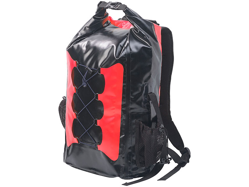 semptec tarpaulin rucksack wasserdichter trekking rucksack aus lkw plane 30 liter rot schwarz. Black Bedroom Furniture Sets. Home Design Ideas