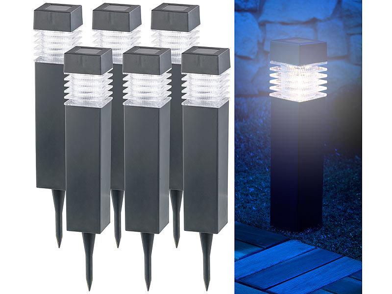 lunartec solar gartenleuchte 6er set moderne solar led wegeleuchten mit d mmerungs sensor led. Black Bedroom Furniture Sets. Home Design Ideas