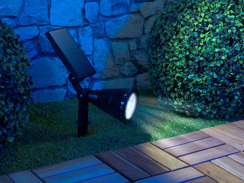 luminea led solar wegeleuchten 2er set solar led garten spots mit erdspie 200 lumen 1 5 watt. Black Bedroom Furniture Sets. Home Design Ideas