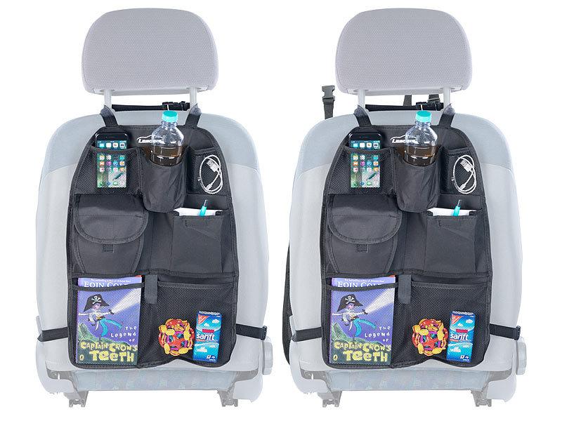 2x KFZ Auto Rücksitz Organizer Kinder Rücksitztasche Rücklehnenschutz Schwarz