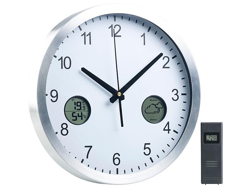 St. Leonhard Uhr: Funk-Wanduhr mit digitaler Wetterstation und Funk ...