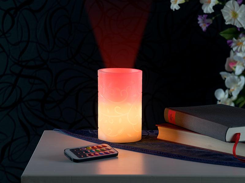 lunartec led projektor kerze echtwachskerze mit farbwechsel led und laser projektor. Black Bedroom Furniture Sets. Home Design Ideas