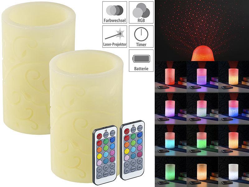 lunartec blockkerzen 2 echtwachskerzen mit farbwechsel led laser projektor fernbedienung. Black Bedroom Furniture Sets. Home Design Ideas