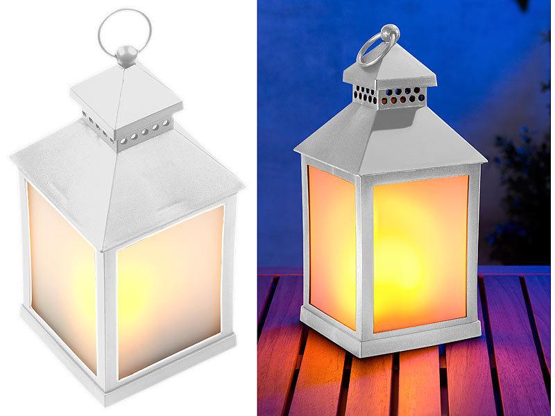 Lunartec Lampe Led Laterne Mit Realistischem Flammenspiel Und Timer Weiß Laterne Mit Led Licht