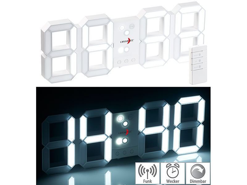 Horloge LED digitale radio-pilotée à luminosité variable avec fonct...