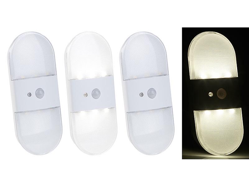 pearl kabellose lampen batterie led wandleuchte bewegungs lichtsensor 80 lumen 3er set. Black Bedroom Furniture Sets. Home Design Ideas