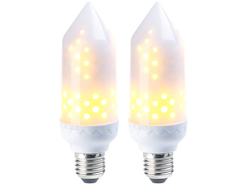 E27-LED-Flammenlampe: 2er-Pack LED-Flammen-Lampe mit realistischem ...