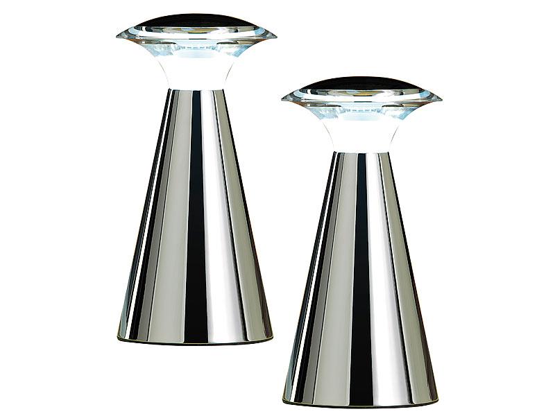lunartec leuchten edelstahl led tischleuchte 2er set led tischlampe mit batterie. Black Bedroom Furniture Sets. Home Design Ideas