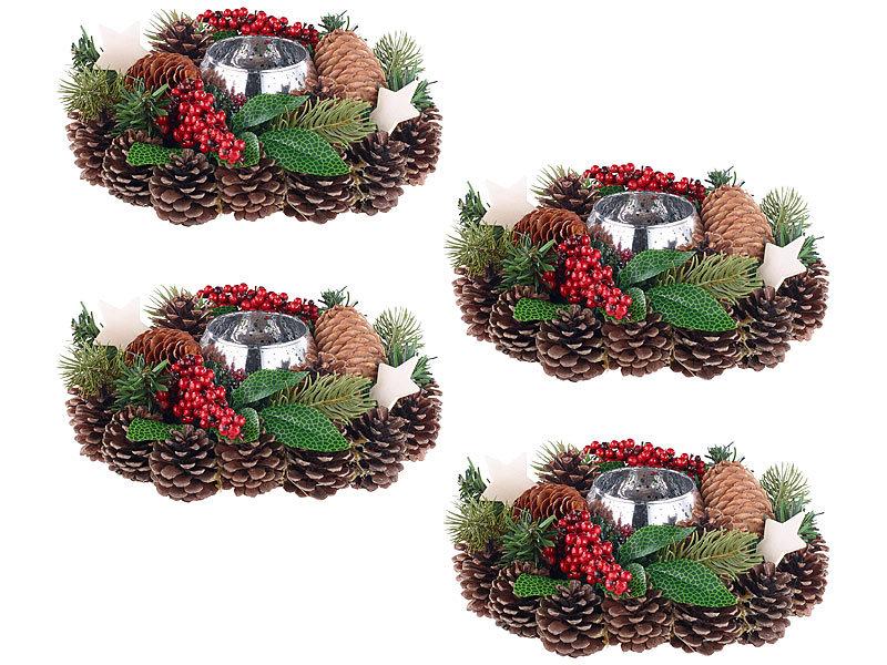 Britesta weihnachtengesteck 4er set weihnachts - Adventsdekoration fensterbank ...