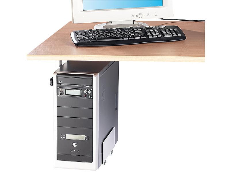 general office pc halter platzsparende pc halterung f r untertisch montage computer halterung. Black Bedroom Furniture Sets. Home Design Ideas