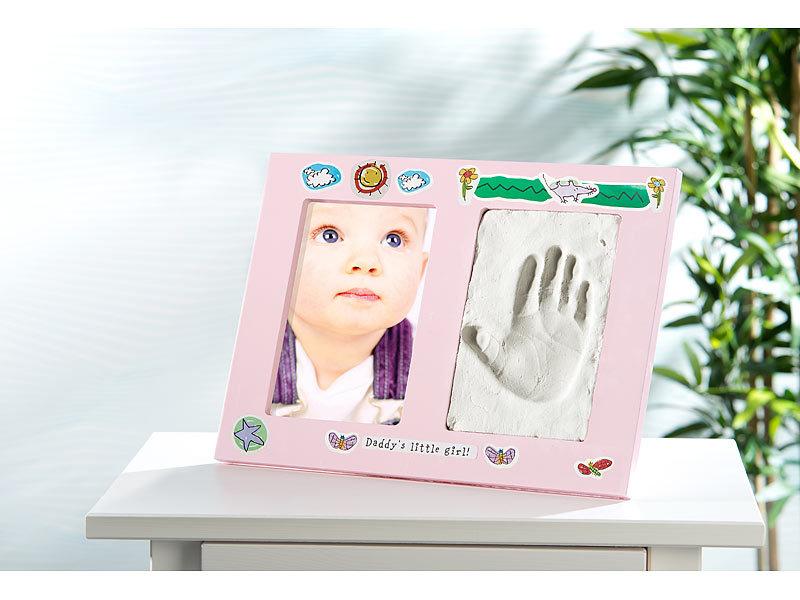 your design gro er baby hand und fu abdruck bilderrahmen handprint rosa. Black Bedroom Furniture Sets. Home Design Ideas