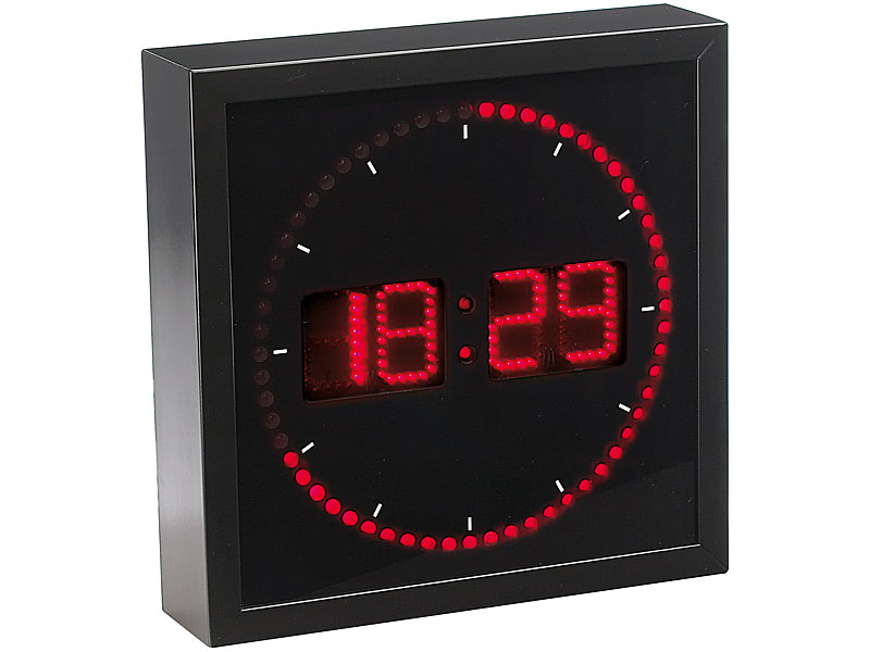 lunartec digitale wanduhr led wanduhr mit sekunden lauflicht durch rote leds digitale uhren. Black Bedroom Furniture Sets. Home Design Ideas