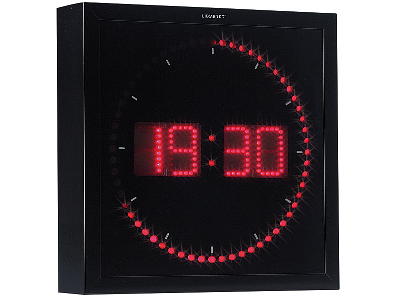 lunartec uhr led wanduhr mit sekunden lauflicht durch rote leds uhr led. Black Bedroom Furniture Sets. Home Design Ideas