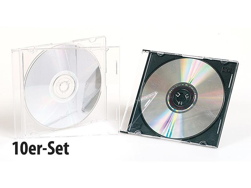 10er set slim cd h llen transparent schwarz. Black Bedroom Furniture Sets. Home Design Ideas