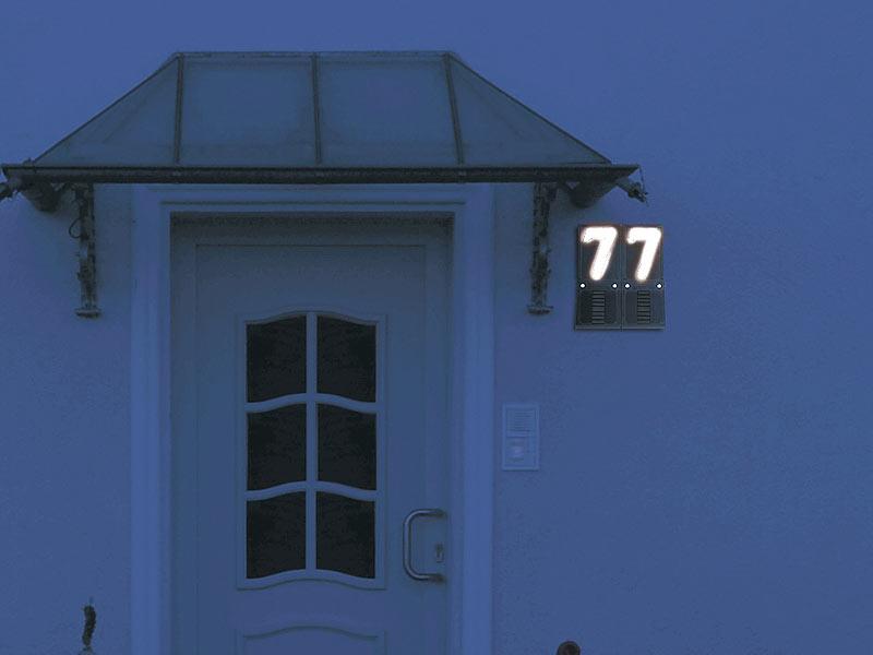 lunartec hausnummernbeleuchtung beleuchtete hausnummer. Black Bedroom Furniture Sets. Home Design Ideas