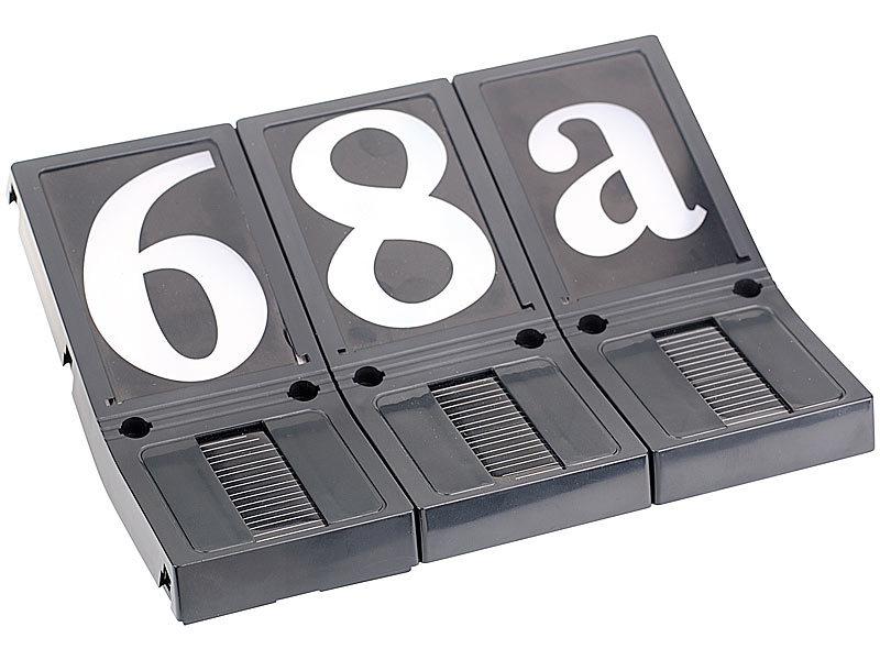 lunartec beleuchtete hausnummer solar 3er set. Black Bedroom Furniture Sets. Home Design Ideas
