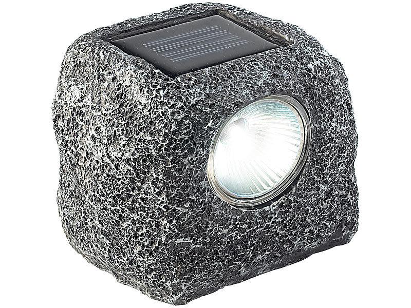 lunartec solar gartenlicht stein design mit stimmungsvoller amber led. Black Bedroom Furniture Sets. Home Design Ideas