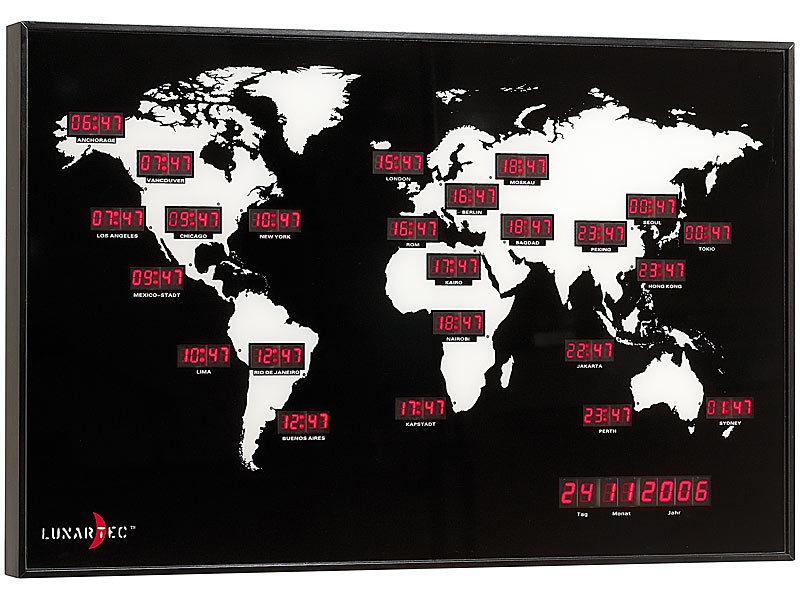 Lunartec Weltuhr Digitale Weltzeit Uhr Mit 24 Weltstädten