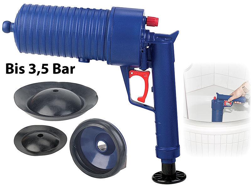 XL Pressluft-Rohrreiniger mit handlichem Pistolengriff und 6 Aufsätzen