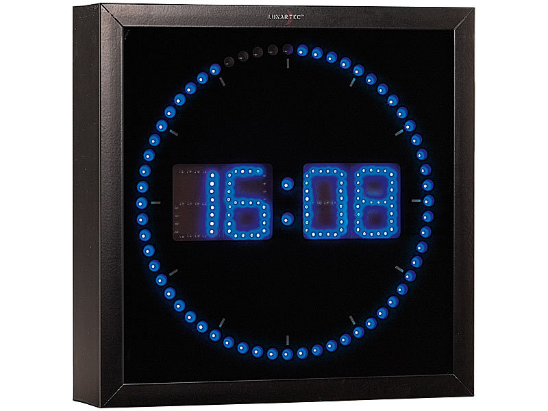 lunartec led wanduhr gro led wanduhr mit sekunden lauflicht aus blauen leds led wanduhr digital. Black Bedroom Furniture Sets. Home Design Ideas
