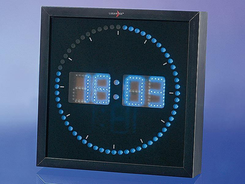lunartec led wanduhr gro led wanduhr mit sekunden lauflicht aus blauen leds led wanduhr digital. Black Bedroom Furniture Sets. Home Design Ideas