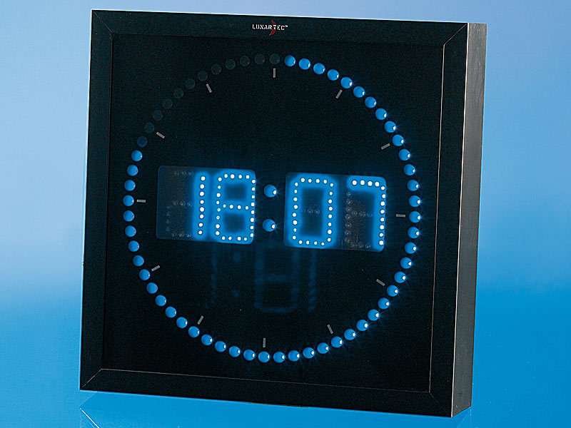 lunartec led wanduhr gro led wanduhr mit sekunden lauflicht aus blauen leds. Black Bedroom Furniture Sets. Home Design Ideas