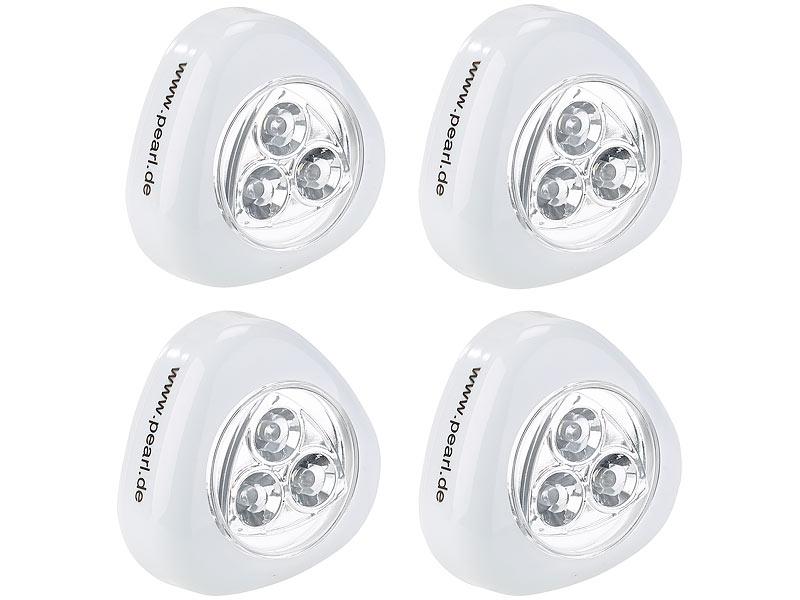 PEARL Schranklicht: Stick-&-Push-Light weiß 4er-Set (LED ...