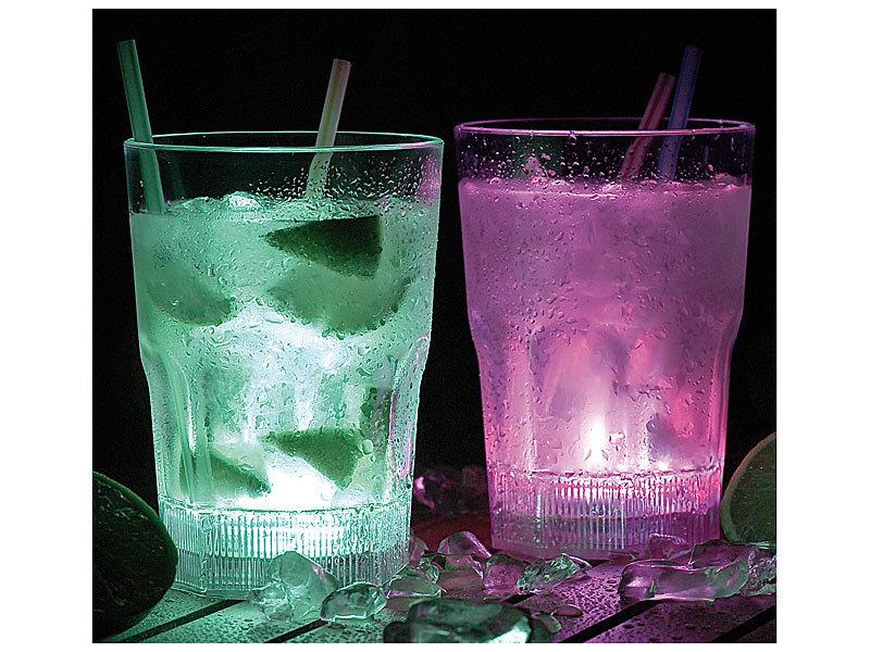 Longdrink-Gläser mit LED-Farbwechsler, 2er-Set