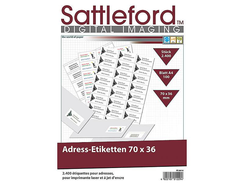 Sattleford Klebeettiketten 2400 Adress Etiketten 70x36 Mm