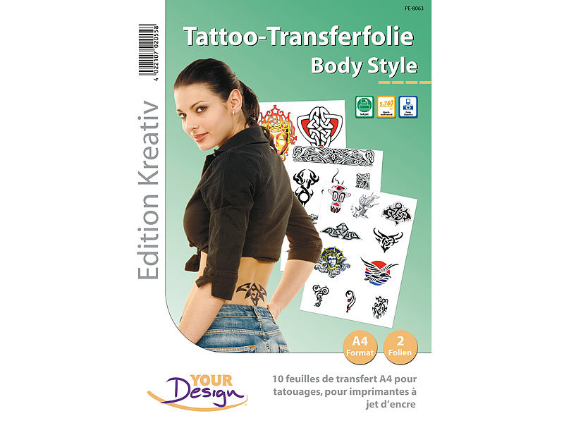 Your design 2 tattoo transferfolien bodystyle a4 f r inkjet for Auf klebefolie drucken