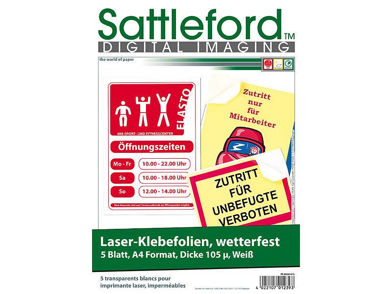 Sattleford 5 Klebefolien wetterfest A4 für Laserdrucker weiß