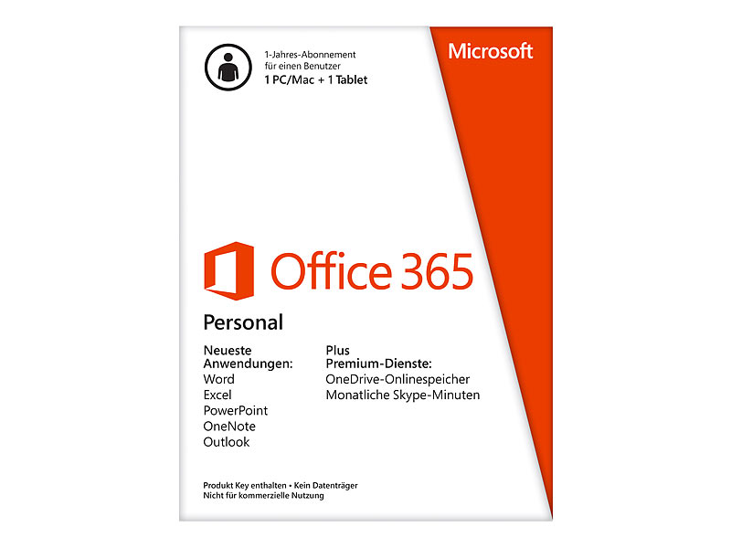 microsoft office 365 personal 1 platz lizenz product key card. Black Bedroom Furniture Sets. Home Design Ideas