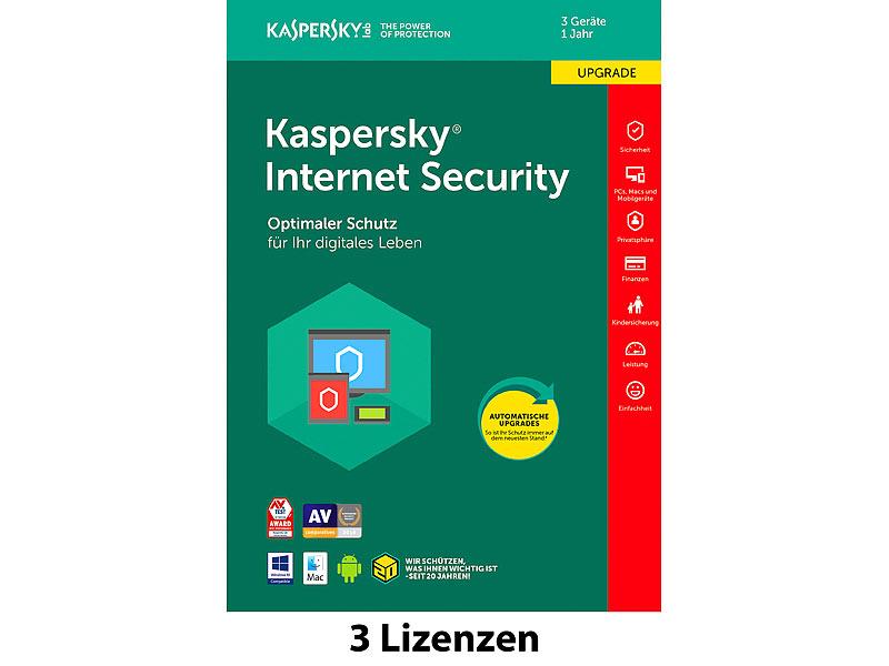 kaspersky internet security 2018 upgrade 3 lizenzen f r. Black Bedroom Furniture Sets. Home Design Ideas
