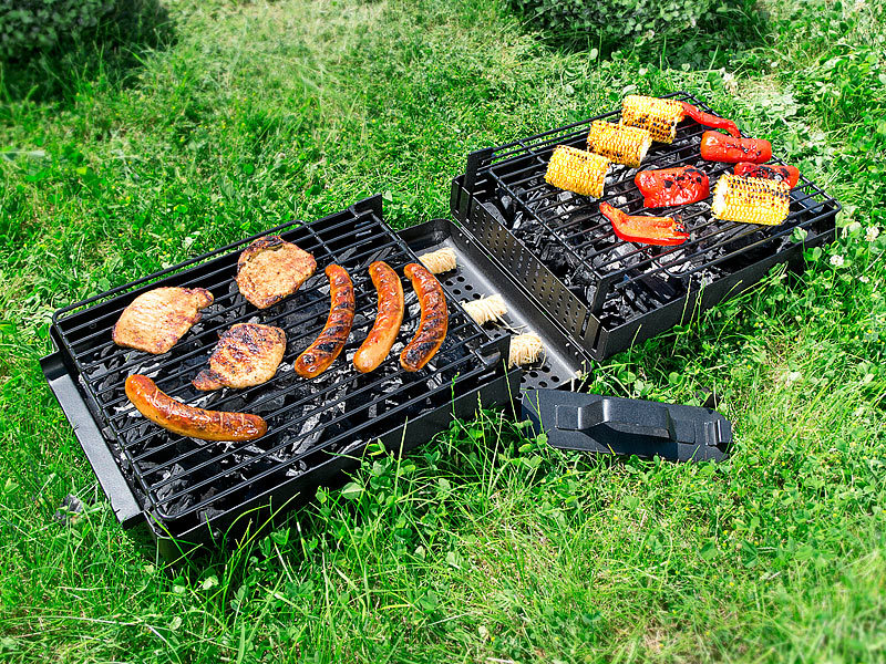 rosenstein s hne klappbarer picknick koffer grill mit hitzeschutz geschlo en. Black Bedroom Furniture Sets. Home Design Ideas
