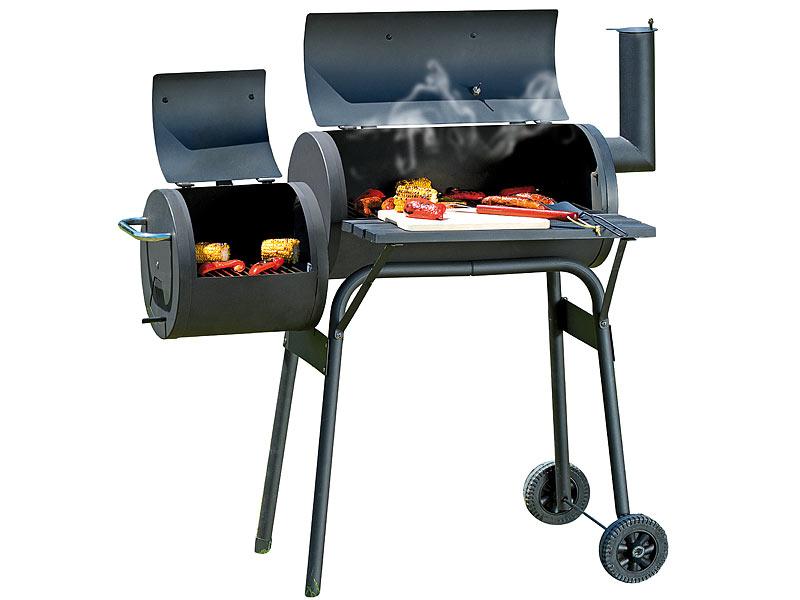 rosenstein s hne holzkohle bbq smoker grill wagen classic mit 2 brennkammern. Black Bedroom Furniture Sets. Home Design Ideas