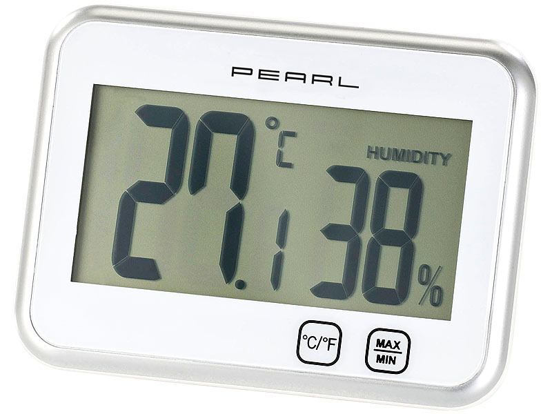pearl digitalthermometer digitales thermometer hygrometer mit minimum maximum touch. Black Bedroom Furniture Sets. Home Design Ideas