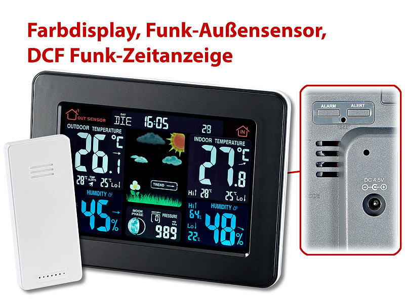 infactory thermometer wetterstation mit farb display funk au ensensor dcf funk zeitanzeige. Black Bedroom Furniture Sets. Home Design Ideas